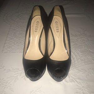 Guess black  peep toe leather heels